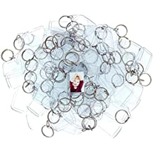 100 Llaveros con Marco para Fotos Acrílico Transparente por Kurtzy - Llavero en Blanco de 5