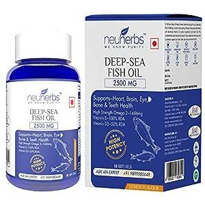 Neuherbs Deep Sea Omega 3 Fish Oil 2500 Mg (Omega 3 1400 mg; 892 mg EPA; and 594 mg DHA per serving): 60 Soft Gel