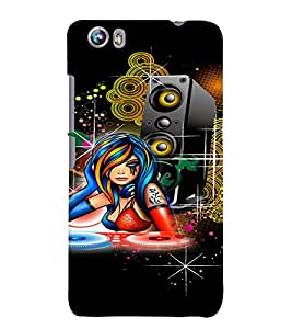 Fuson DJ Music Girl Back Case Cover for MICROMAX CANVAS FIRE 4 A107 - D4070