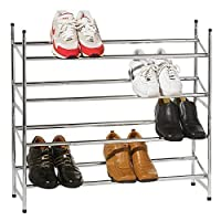 ASAB 4 TIER METAL CHROME EXTENDABLE SHOE RACK STORAGE SHELVES BOOT STAND ORGANISER STACKABLE SHELF HOLDER