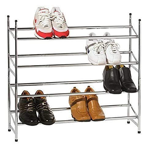 4 TIER METAL CHROME EXTENDABLE SHOE RACK STORAGE SHELVES BOOT STAND ORGANISER STACKABLE SHELF HOLDER by SHOE STORAGE ORGANISER