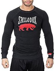 SMILODOX Sweatshirt Herren | Sweater für Sport Fitness & Freizeit | Longsleeve - Langarmshirt Pulli | Sportpullover - Pullover Langarm - Sportshirt mit Aufdruck