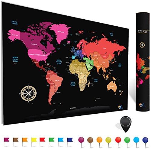 Mapamundi para rascar (de City Travel)   Perfecto regalo para viajeros   Mapa del mundo minimalista   Extra grande (84.1 x 59.4cm -A1) fácil de enmarcar   Con rascador y pines para países visitados.