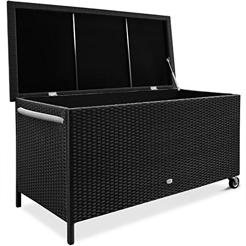 Deuba Auflagenbox Poly Rattan Rostfreies Aluminiumgestell Rollbar Hubautomatik Gartentruhe Gartenbox Kissenbox Kissentruhe