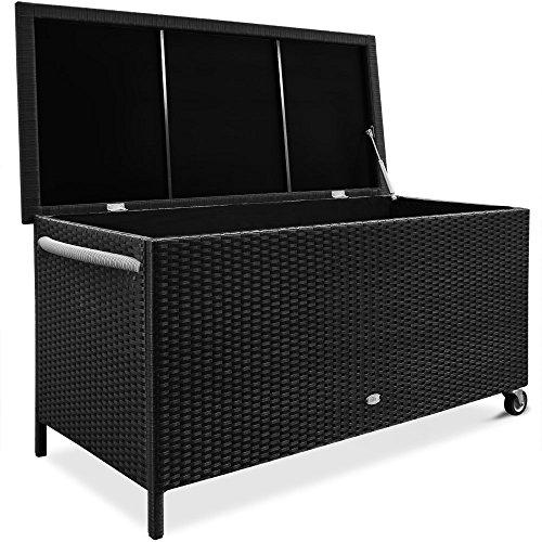 gartenbox polyrattan Deuba Auflagenbox   Poly Rattan Rostfreies Aluminiumgestell Rollbar Hubautomatik   Gartentruhe Gartenbox Kissenbox Kissentruhe