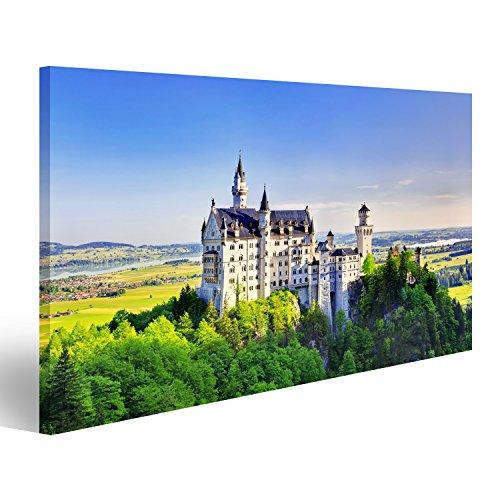 islandburner Bild Bilder auf Leinwand Schöne Sommeransicht des Schloss Neuschwanstein Füssen Bayern, Deutschland Wandbild Leinwandbild Poster (Schloss Neuschwanstein Poster)