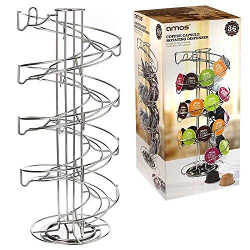 AMOS Portacapsule Spirale Supporto Girevole Rotante per Capsule di Caffè Dolce Gusto Nespresso Tassimo Torre di Stoccaggio di Acciaio Inossidabile Distributore