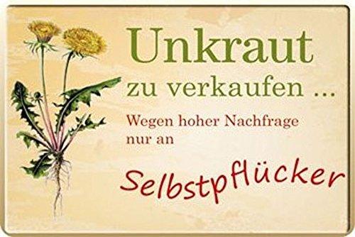 Sprüche - Unkraut zu verkaufen - Blechschild - 20x30 cm (Unkraut-home)