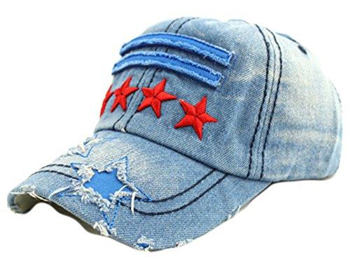 saysure-retail-mens-baseball-caps-jean-denim-pentagram-pattern