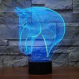3D Illusion Lampe Pferd LED Nachtlicht, USB-Stromversorgung 7 Farben Blinken Berührungsschalter Schlafzimmer Schreibtischlampe für Kinder Weihnachts geschenk