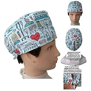 OP-Kappen. Instrumental-Kurzhaararzt, Chirurg, Zahnarzt, Tierarzt, Handtuch auf der Stirn, verstellbarer Spanner nach Ihren Wünschen