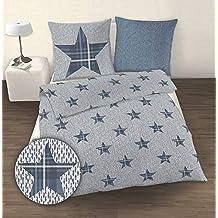 25cf9265c85741 IDO Fein-Biber Bettwäsche, Sterne Silber-Jeansblau, Größe:135x200/80x80cm