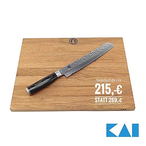 Kai Shun Premier Tim Mälzer Angebotsset | TDM-1705, ultrascharfe japanische Brotmesser aus Damaststahl | + großes massives Schneidebrett von Kai 40x30 cm | VK: 279,- €
