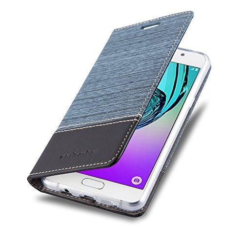 Preisvergleich Produktbild Cadorabo Hülle für Samsung Galaxy A3 2016 (6) - Hülle in DUNKEL BLAU SCHWARZ – Handyhülle mit Standfunktion und Kartenfach im Stoff Design - Case Cover Schutzhülle Etui Tasche Book