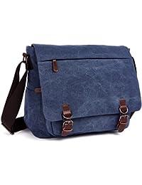 LOSMILE Umhängetasche Herren Schultertasche 16 Zoll Kuriertasche Canvas Laptop Tasche Messenger Bag für Arbeit und Schule.