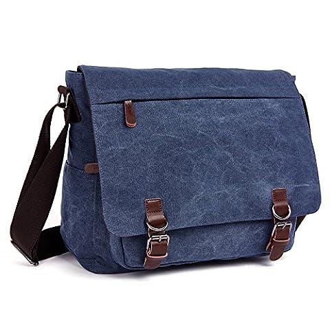 LOSMILE Umhängetasche Herren Schultertasche 16 Zoll Kuriertasche Canvas Laptop Tasche Messenger Bag für Arbeit und Schule. (Blau)