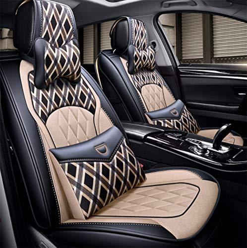 Autositzbezüge, All-In-One-Leinen Abnehmbare Four Seasons Universal-Sitzbezüge mit Kopfstütze, Lendenkissen Geeignet für die meisten Autos mit 5 Sitzen,Beige
