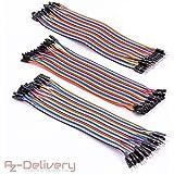 AZDelivery ⭐⭐⭐⭐⭐ Jumper Wire Cavalier Câble m2m/f2m/f2f pour Arduino – 3x40 morceaux 120pcs Câbles DuPont 3 en 1 Multicolore Fil Dupont Wire (20 cm)
