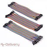 AZDelivery  Jumper Wire Kabel 3 x 40 STK. je 20 cm M2M/ F2M / F2F für Arduino und Raspberry Pi Breadboard