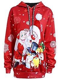 Siswong Papá Noel Disfraz Mujer Sudaderas Kawaii con Capucha de Navidad Ropa Mujer Invierno Barata