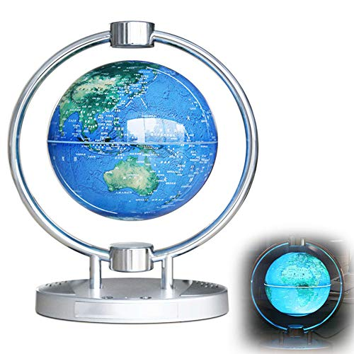 """BZDBZ Levitación Magnética Mapa del Mundo Flotante Globo Globo Giratorio Antigravedad de 6"""" Lámpara de Luz LED Y Audio Bluetooth Decoración de Oficina En Casa Regalos para Niños, Azul"""