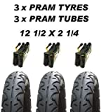 3 x Kinderwagen Reifen & 3x Tuben 12 1/2 x 2 1/4 Profilloser OBaby Zezu Emmaljunga Joolz Day