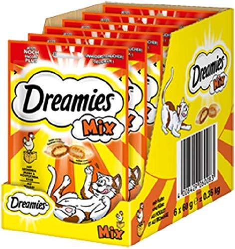 Dreamies Katzensnacks Mix / Katzenleckerli mit wertvollen Vitaminen und Mineralstoffen / Huhn & Käse / 6 x 60g -