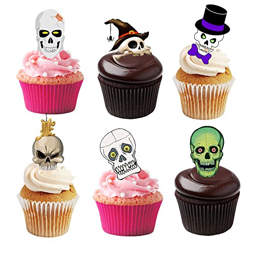36 Stand Up Halloween Skull Premium Essbar Wafer Papier Kuchen Topper (Halloween Dekoration Kuchen)