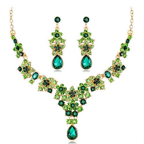 Yazilind Parure de Bijoux Tendance Collier et Boucles d'Oreilles en Strass pour Mariage, Bal de Fin d'année, etc(Vert)