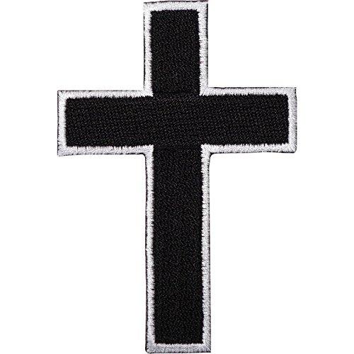 Schwarz Kreuz bestickt Eisen/Nähen auf Patch T-Shirt Tasche Motorrad Jacke Badge