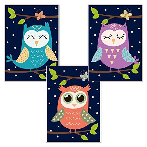 kizibi Kinderzimmer Poster 3er Set Eule DIN A4 | Babyzimmer Jungen Mädchen Wandbild Vogel Uhu Kauz Kunstdruck