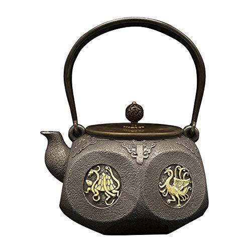 FJH Gusseisen Teekanne,Retro Craft japanischen Stil unbeschichteten 1.4LTea Wasserkocher
