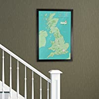 Laminated UK Pinboard Map Framed in Black Wood 53 x 76cm - New Design
