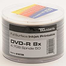 Ritek Traxdata -DVD-R imprimible de cara completa (8x), 4,7GB (paquete de 50unidades)