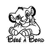 Sticker autocollant Bébé à Bord - ROI LION - Couleur au choix