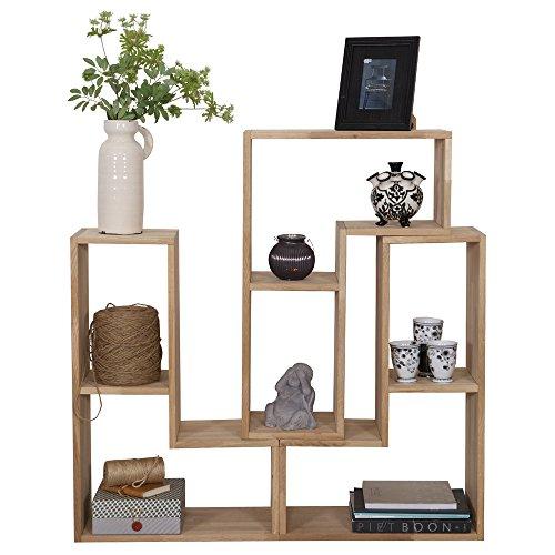 Massivholz Raumteiler (Stufenregal TETRIS Eiche natur Massivholz Aufbewahrung Schrank Regal Raumteiler)