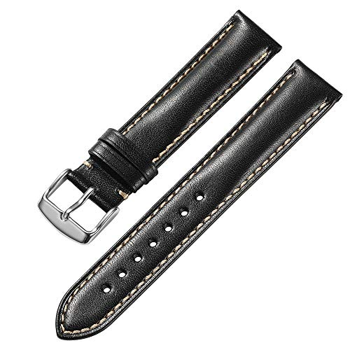 iStrap 18 mm 19mm 20 mm 21mm 22 mm echt Leder Uhrenarmband Armband gepolstert Kalbsleder Gurt Edelstahl Schnalle Super Weich - Schwarz