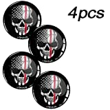 Skino 4 x Adesivi Resinati 3D Gel Stickers Auto Coprimozzi Logo Silicone Autoadesivo Stemma Adesivo Copricerchi Tappi Ruote Teschio Skull Bandiera USA A 69 (55mm)