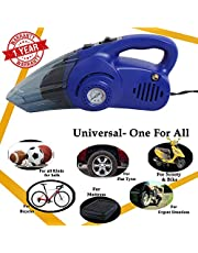 Oshotto (Technology from Taiwan) 100W Heavy Duty Car Vacuum Cleaner Cum 120W Heavy Duty Air Compressor/Tyre Inflator (2 in 1)-Blue