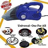 Oshotto 100W Heavy Duty Car Vacuum Cleaner Cum 120W Heavy Duty Air Compressor/Tyre Inflator (2 in 1)-Blue