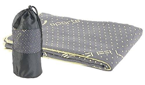 PEARL Sports Fitnesstuch rutschfest: 2in1-Mikrofaser-Yoga-Handtuch & Auflage, saugfähig, rutschfest, grau (Fitness Handtuch rutschfest)