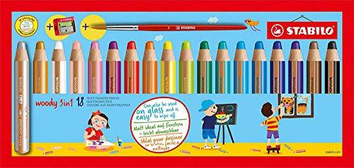 STABILO Buntstift, Wasserfarbe & Wachsmalkreide - woody 3 in 1 - 18er Pack mit Spitzer und Pinsel - mit 18 verschiedenen Farben