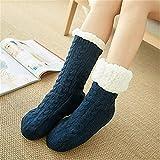 LILONGXI Warme Socken,Frau Winter Weihnachten Socken rutschfeste Boden Verdickung Warme Socken, Mädchen Plus Navy Blau Muster Drucken Baumwolle Socken, Hausschuhe Freizeit Socken(3pcs)