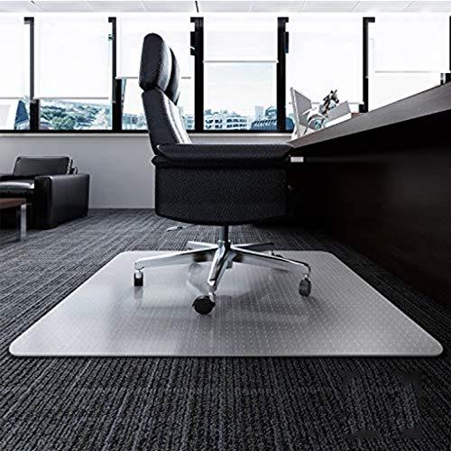 HUANXA Büro Bodenschutzmatte für Hartholzboden, Bürostuhl Unterlage Mit Der Lippe Transparent Anti-Rutsch 35x47'' Vinyl Schutzmatte für Teppich-90x120cm(35x47inch) -