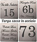 Mosaici Guizzo Targhetta in acciaio inciso_12x12 cm