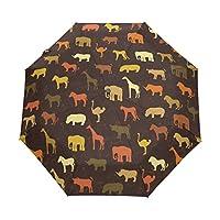 Folding Umbrella Travel Cartoon Dinosaur Animals Print Painting Rain Windproof Automatic Sunblock Compact for Women Men Girls Boys