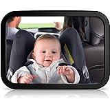 Sunluxy® Espejo Retrovisor para vigilar al bebé en el coche (Correas de sujeción antibalanceo,Regulable 360 °), Color Negro