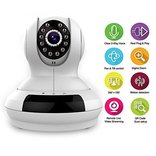IC368 IP Camera Wired / Wireless Wi-Fi Video Bambino / Animale 720P HD di Allarme di Sicurezza Motion Detection, Display del Monitor Remoto, Compatibile con iOS e Android, Micro SD Card Slot (bianco) -Milool