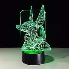 Xzfddn 7 Colores Cambian Egipto, Ilusión 3D, Cambio De Color, Luz De Escritorio Con Toque Negro, Decoración De Base, Luz Nocturna