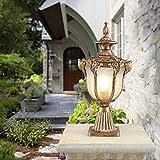 Xungel Außen IP54 wasserdichte Säule Lampe Retro E27 Aluminium Glas Rasen Terrasse Lichter Laterne Villa Tür Post Sockel Leuchte Europäischen Antiken Zaun Straßenlampe ( Color : Black )